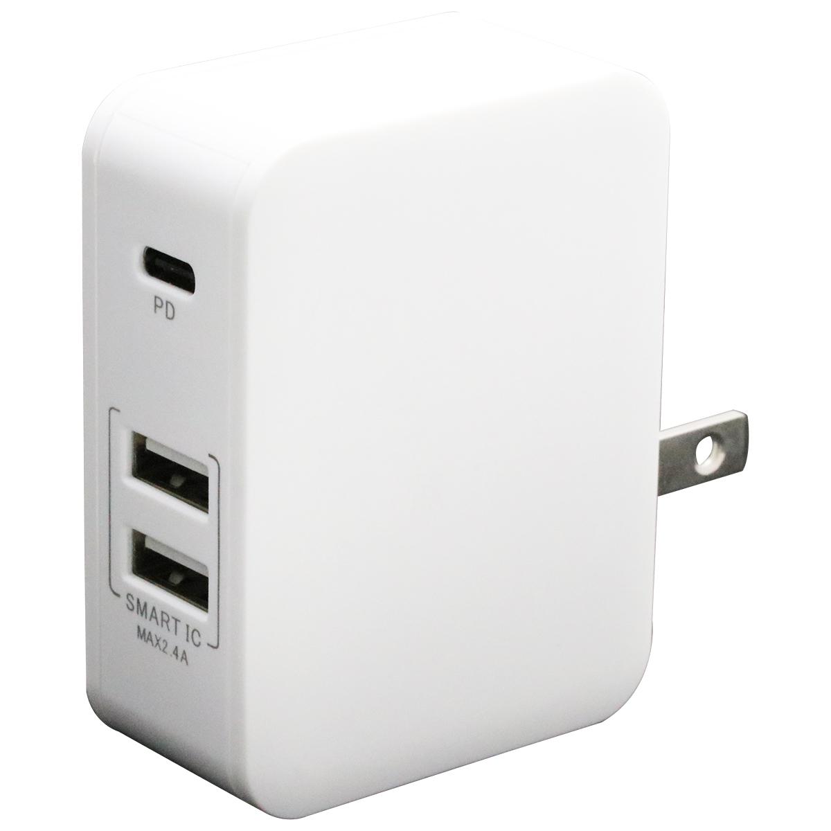 PD対応Type-C/2USBポートAC充電器32W